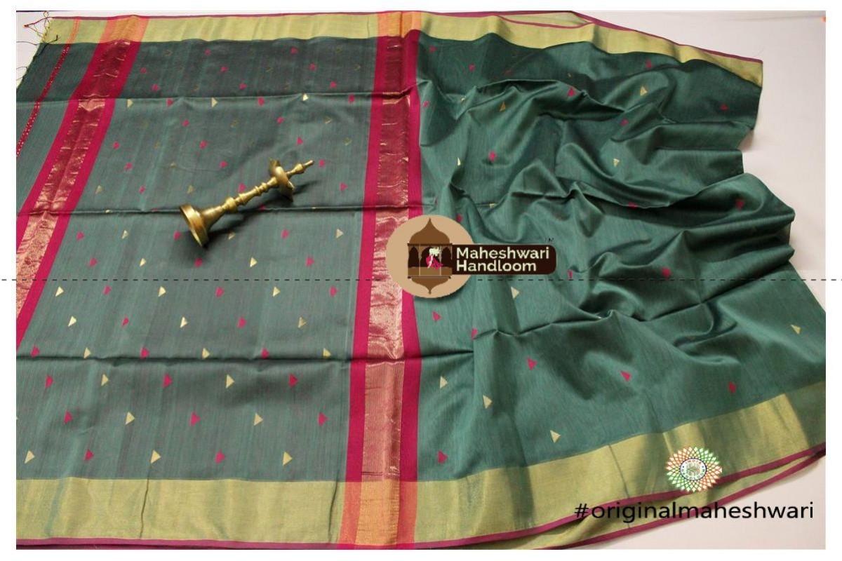 Maheshwari Viridian Green Triangle Buti - Motifs Saree