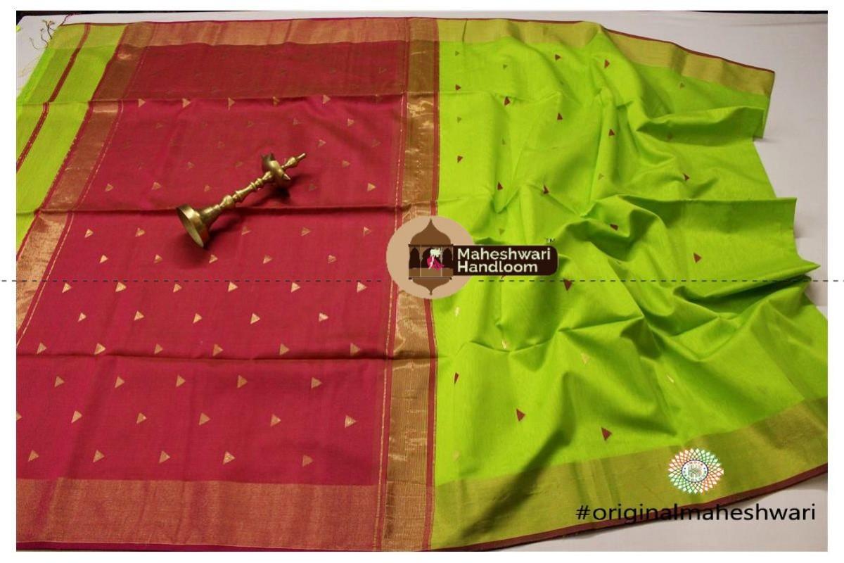 Maheshwari Lime Green Triangle Buti - Motifs Saree