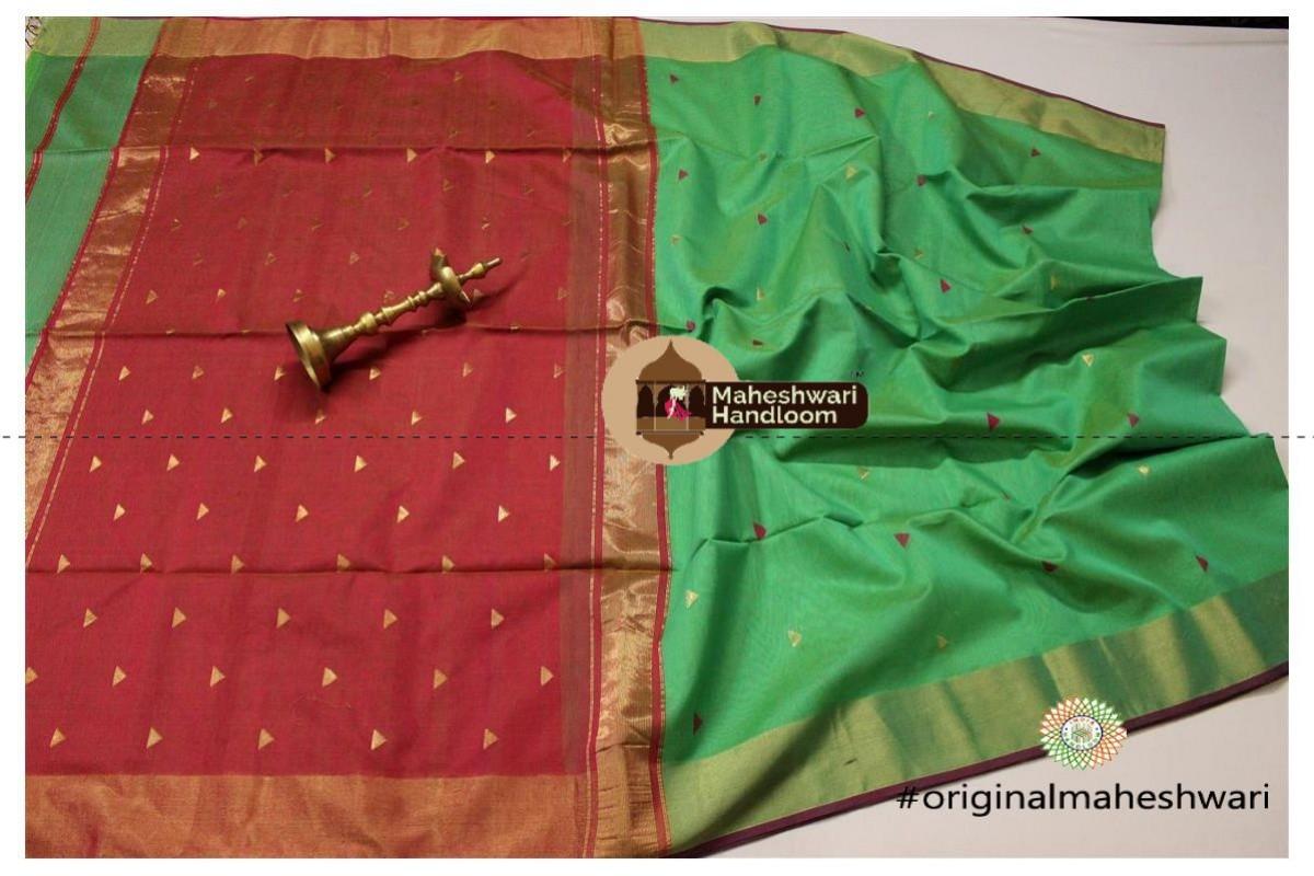 Maheshwari Sea Green Triangle Buti - Motifs Saree