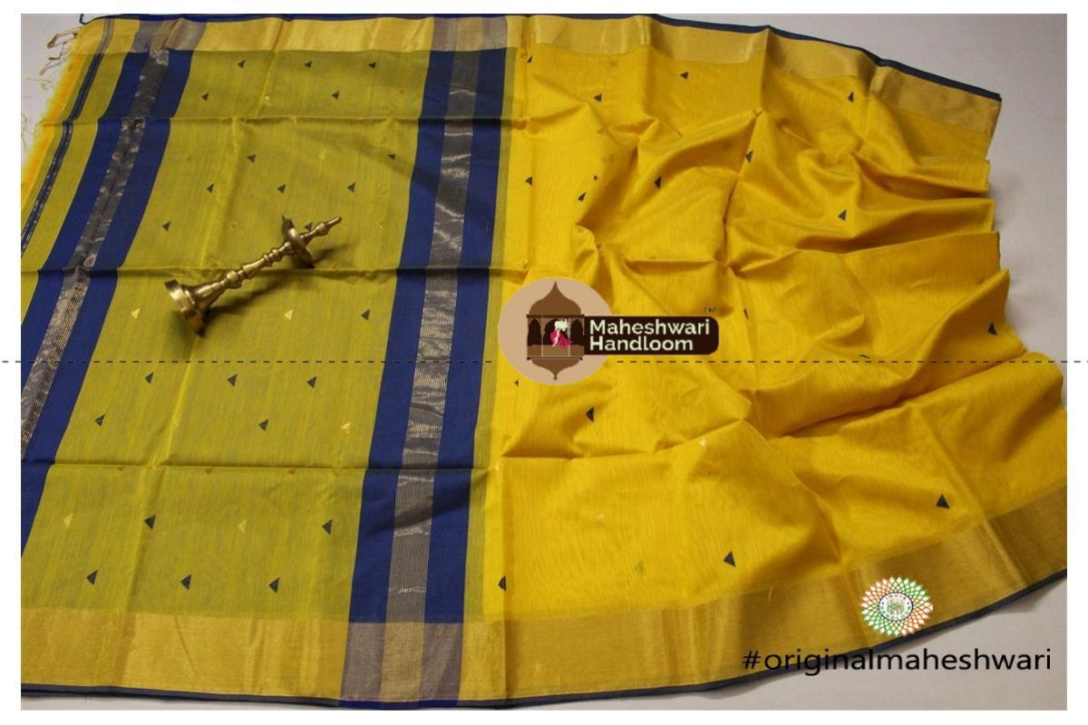 Maheshwari Yellow Triangle Buti - Motifs Saree