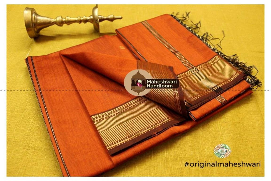 Maheshwari Orange Heavy Pallu Saree