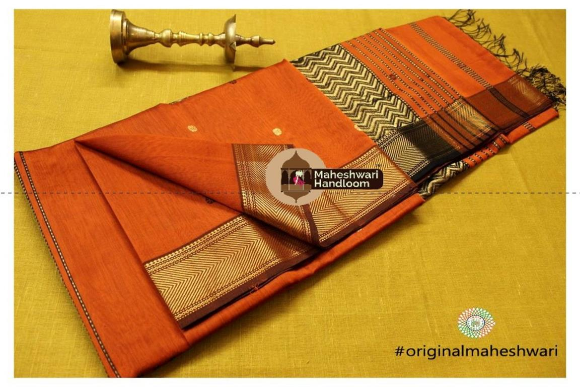 Maheshwari Orange Heavy Pallu Saree