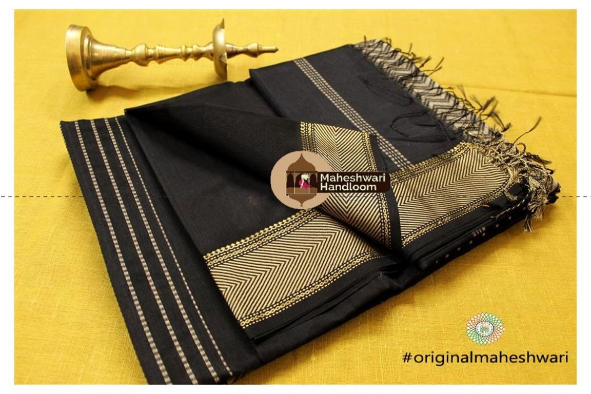 Maheshwari Black Heavy Pallu saree