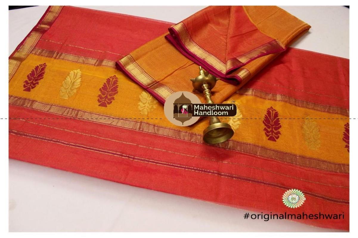 Maheshwari Golden Yellow-Tomato Red  Suit
