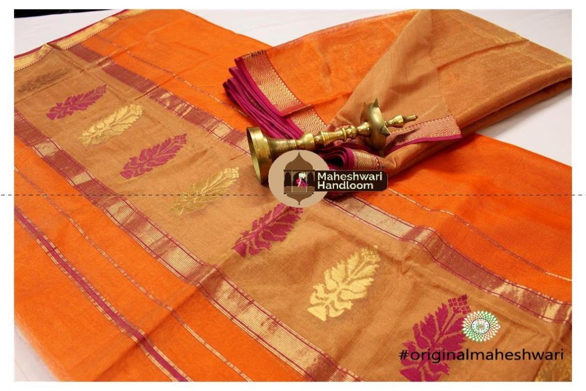 Maheshwari Golden Yellow-Orange  Suit