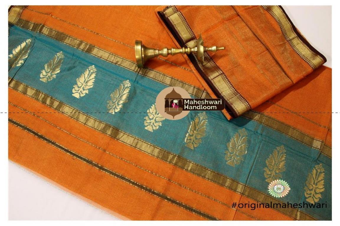 Maheshwari Orange-Orange  Suit