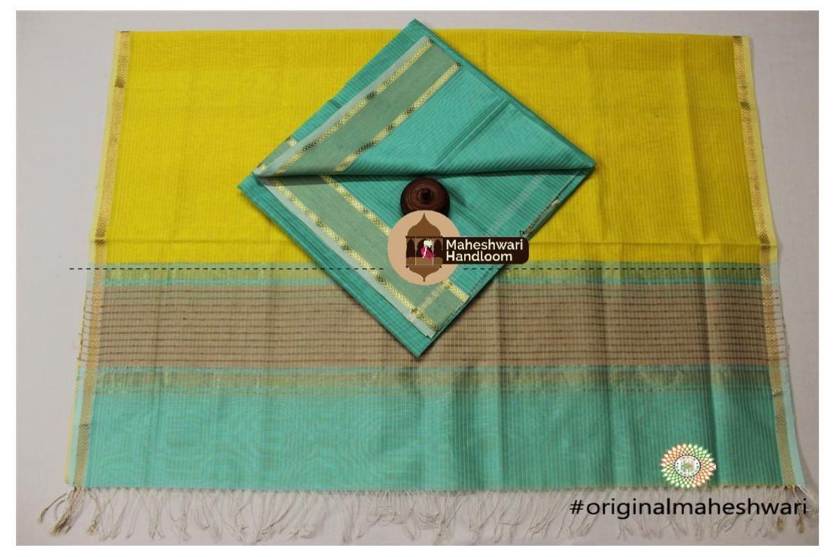 Maheshwari Sea Green - Yellow Green Top Dupatta Material