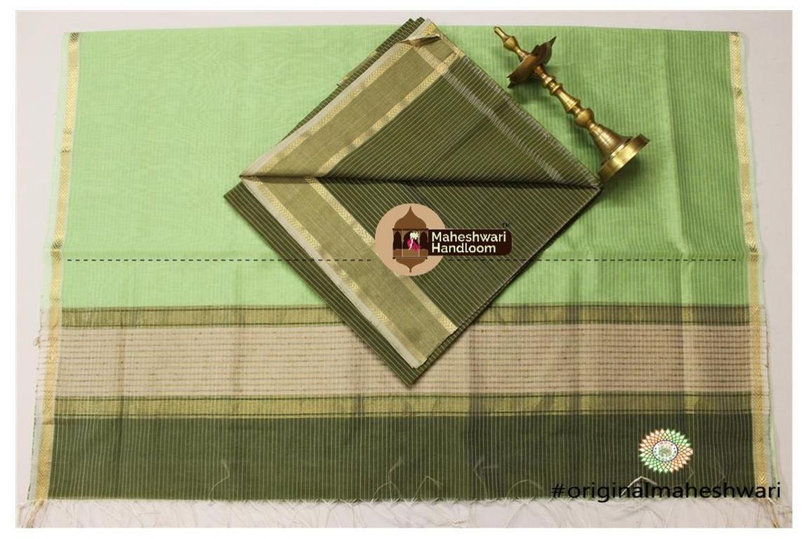 Maheshwari Mehandi Green -Pista Green Top Dupatta Material