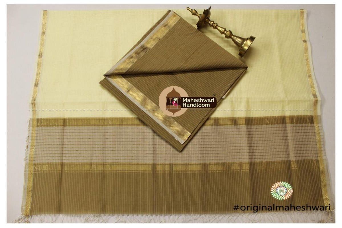 Maheshwari Light Brown - Cream Top Dupatta Material