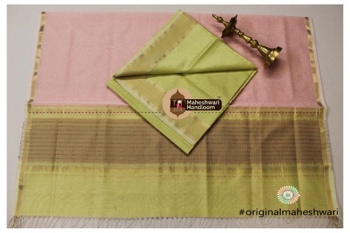 Maheshwari Peach Pink -Light Yellow Green Top Dupatta Material