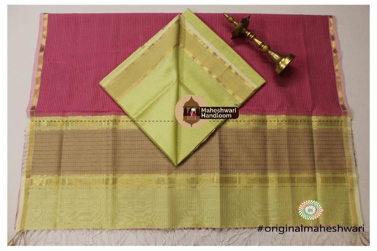 Maheshwari Yellow Green - Pink Top Dupatta Material