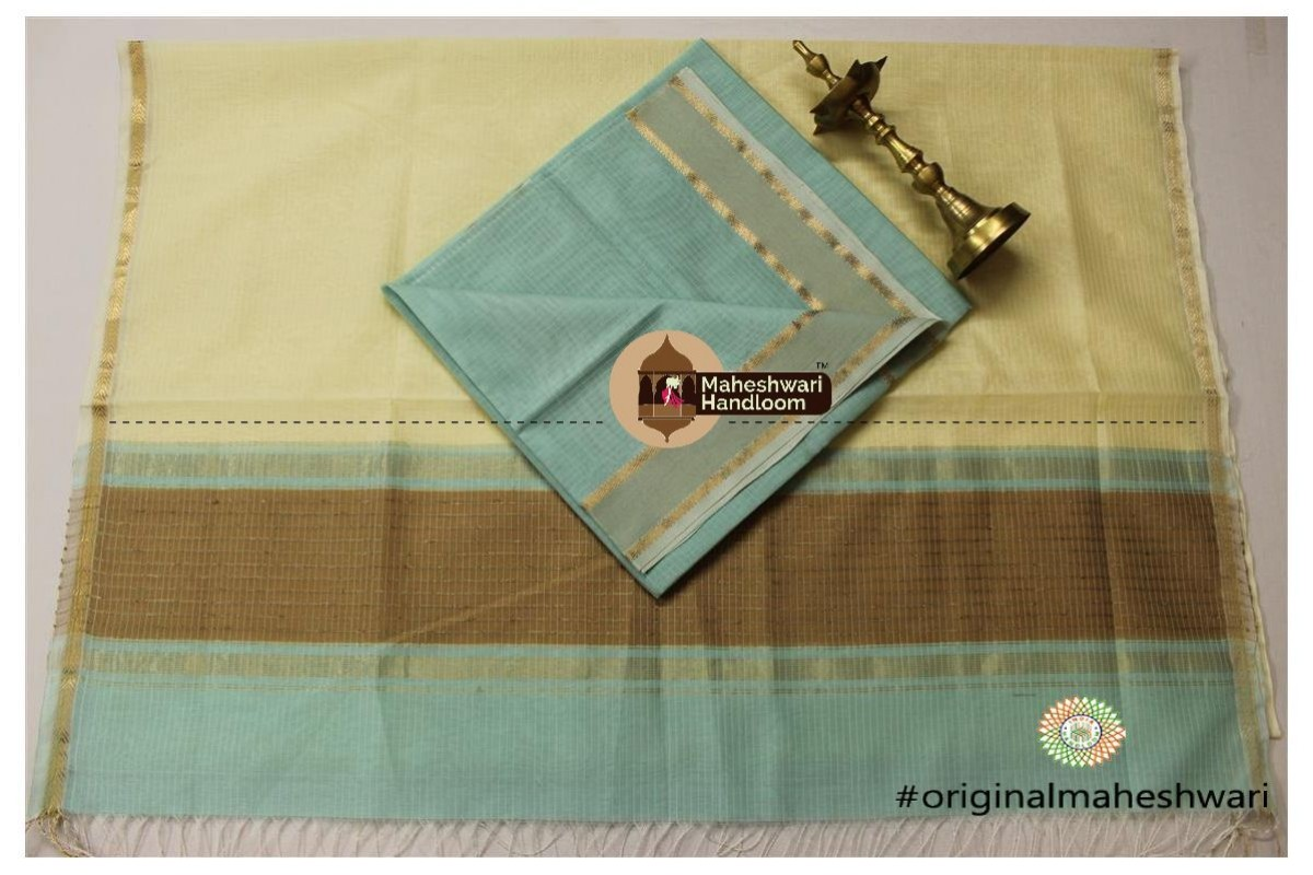 Maheshwari Peach Green -Cream Yellow Top Dupatta Material
