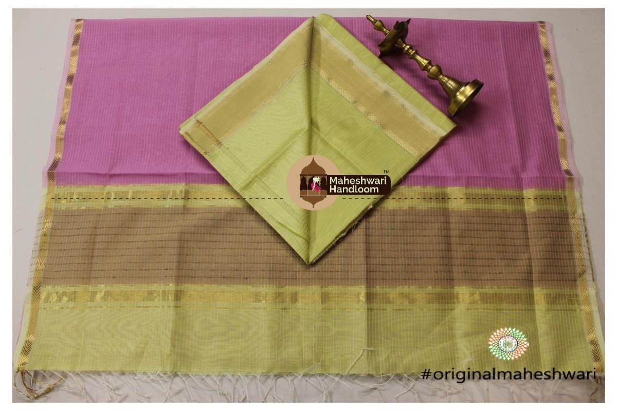 Maheshwari Light Mehandi Green -Light Purple Top Dupatta Material
