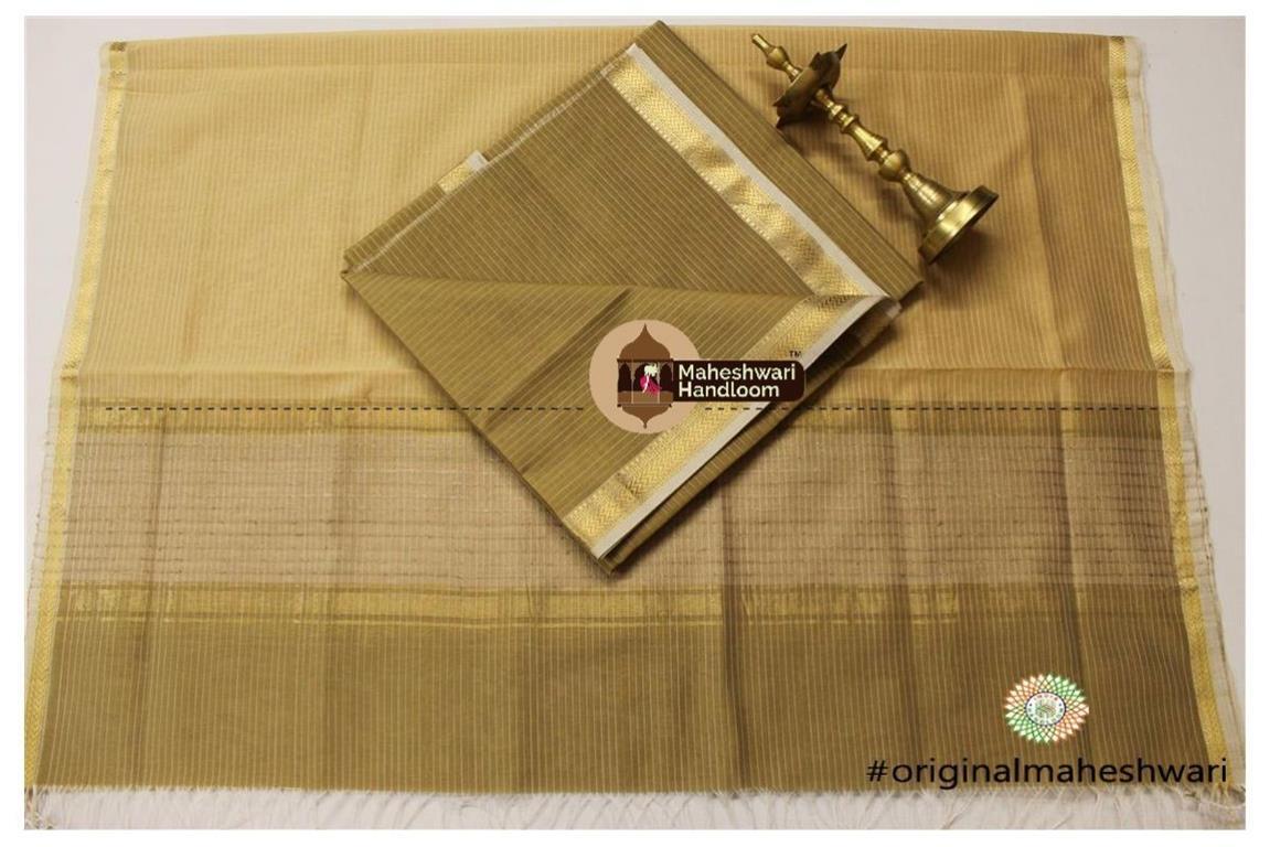 Maheshwari Light Brown -Golden Yellow Top Dupatta Material