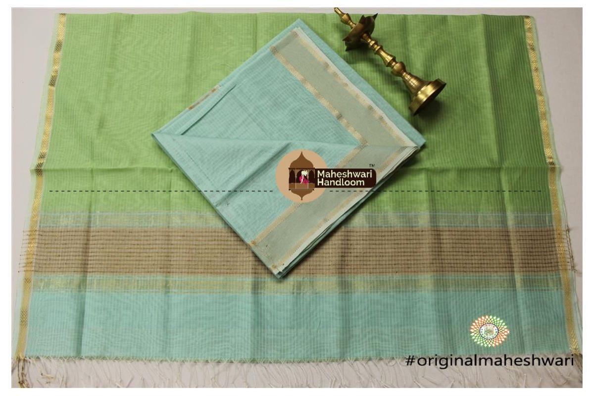 Maheshwari Sea Green -Pista Green Top Dupatta Material