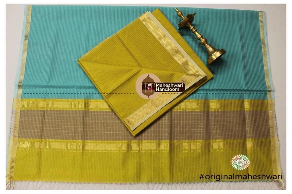 Maheshwari Mehandi Green -Sea Green Top Dupatta Material