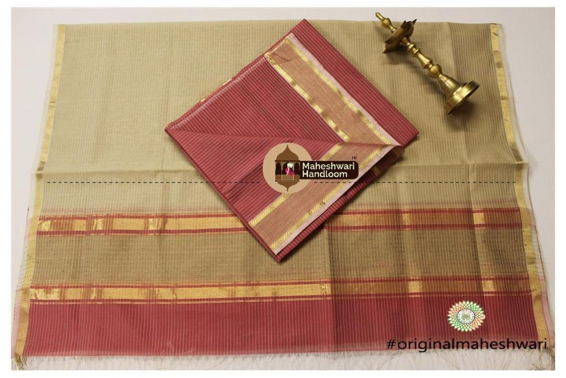 Maheshwari Carrot Red -Cream Top Dupatta Material