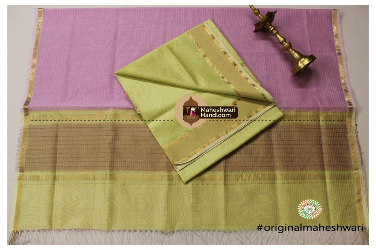 Maheshwari Pista Green -Light Magenta Top Dupatta Material