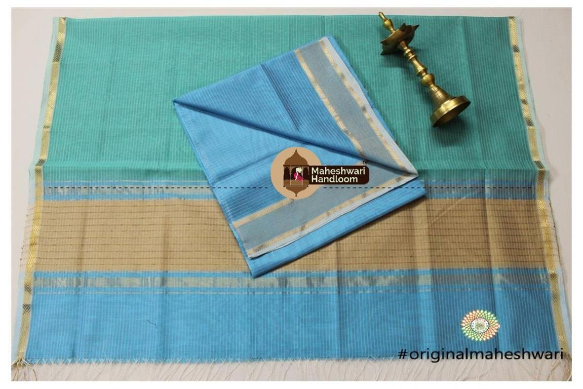 Maheshwari Chintamani - Sea Green Top Dupatta Material