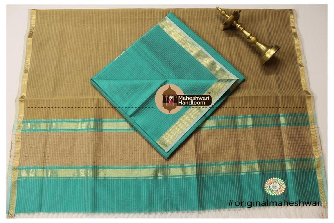 Maheshwari Sea Green -Light Brown Top Dupatta Material