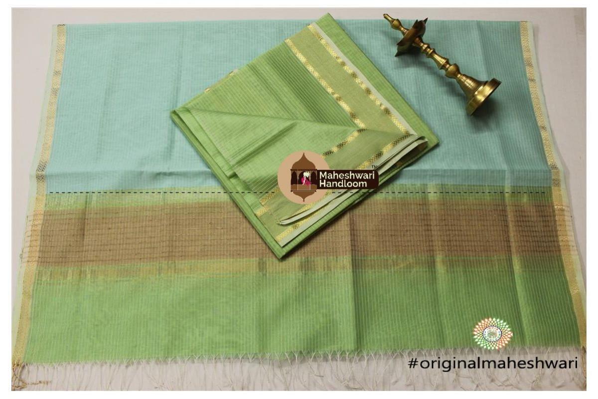 Maheshwari Pista  Green -Sea Blue Top Dupatta Material