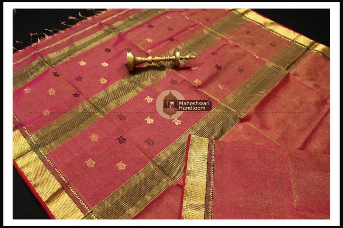 Maheshwari Carrot Red Tissue Buti Pallu Weaving Saree