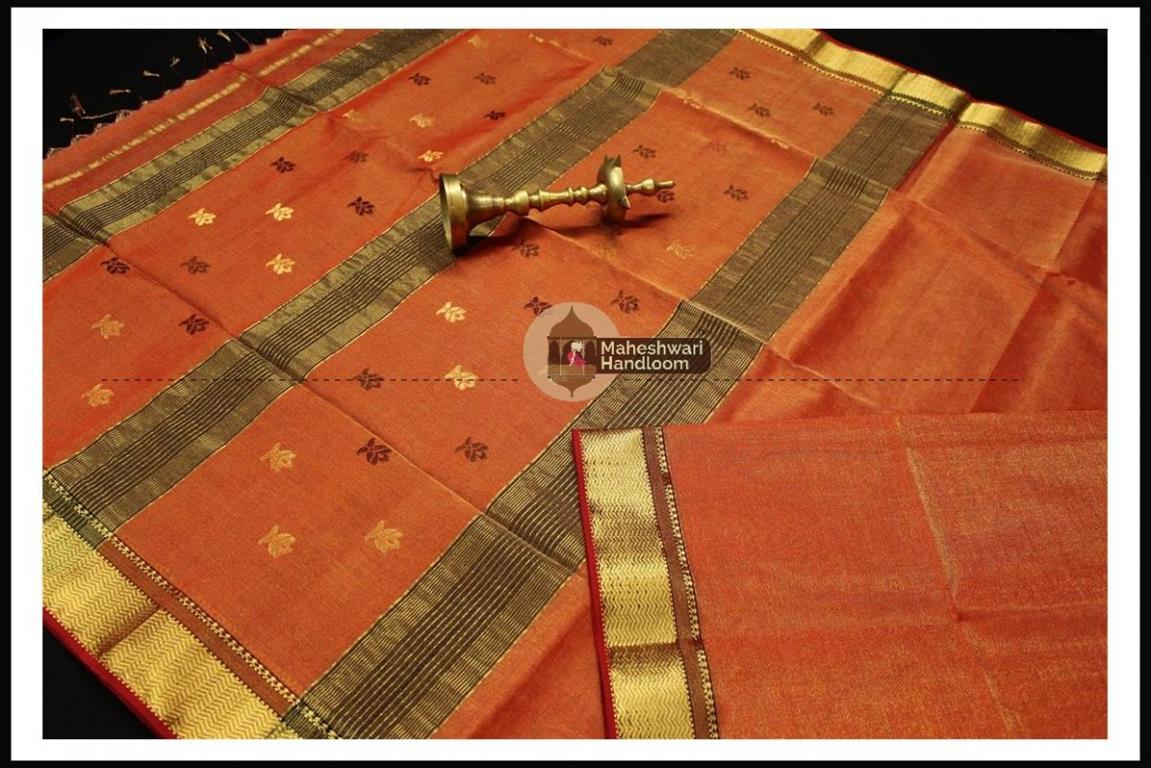 Maheshwari Orange Tissue Buti Pallu Weaving Saree