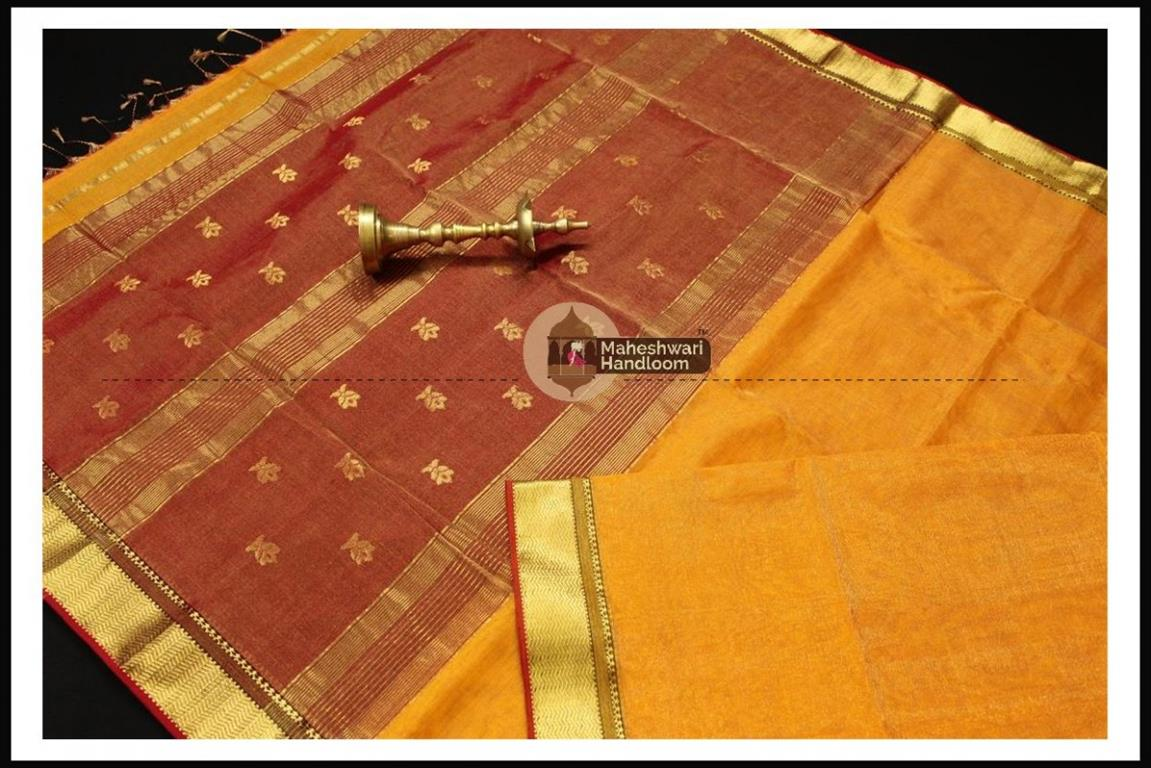 Maheshwari Golden Yellow Tissue Buti Pallu Weaving Saree
