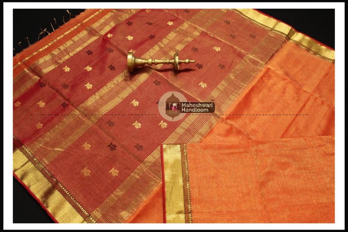 Maheshwari Light Orange Tissue Buti Pallu Weaving Saree
