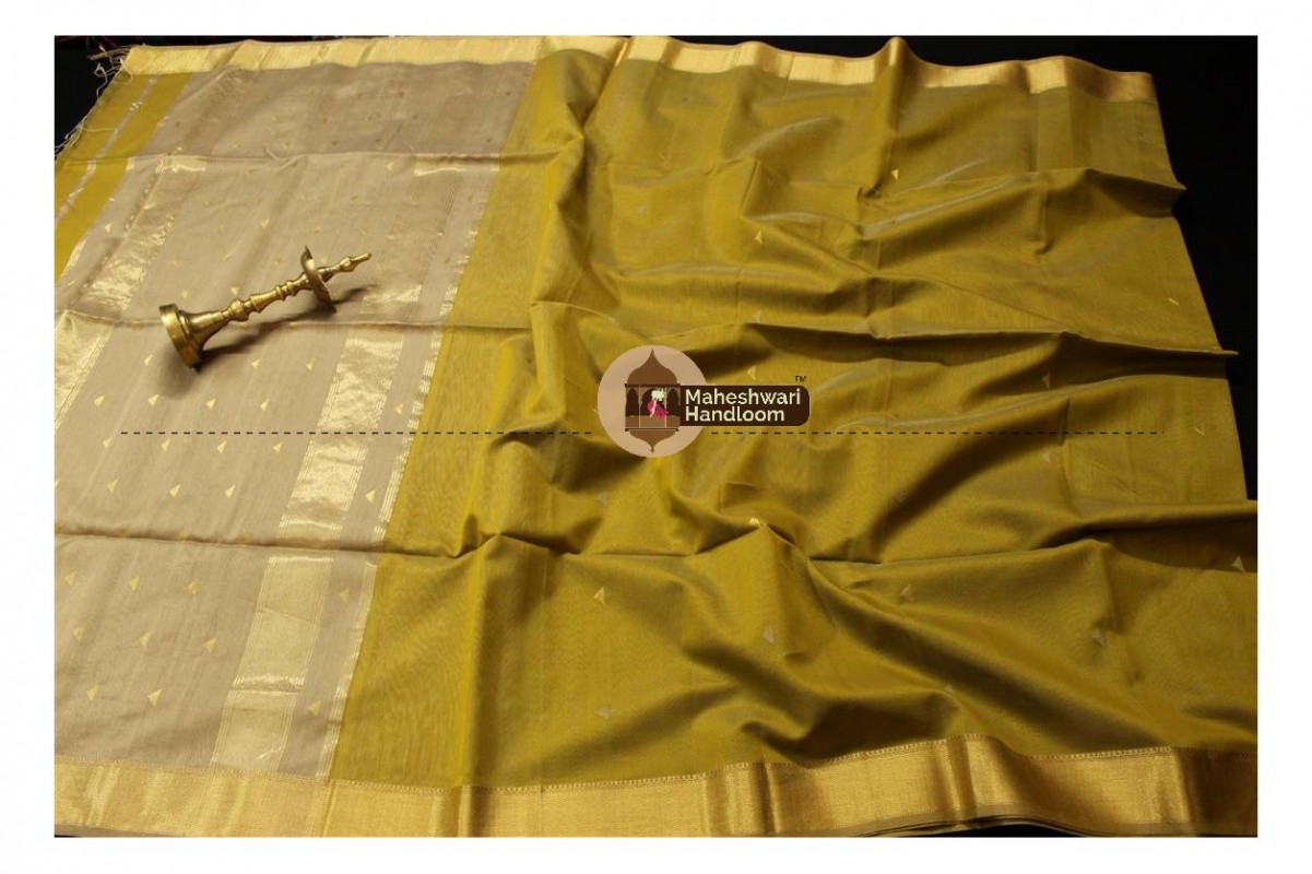 Maheshwari Mehandi Green Tringle Buti Weaving saree