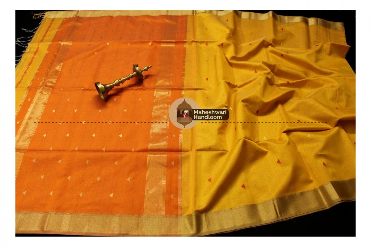 Maheshwari Yellow Tringle Buti Weaving saree