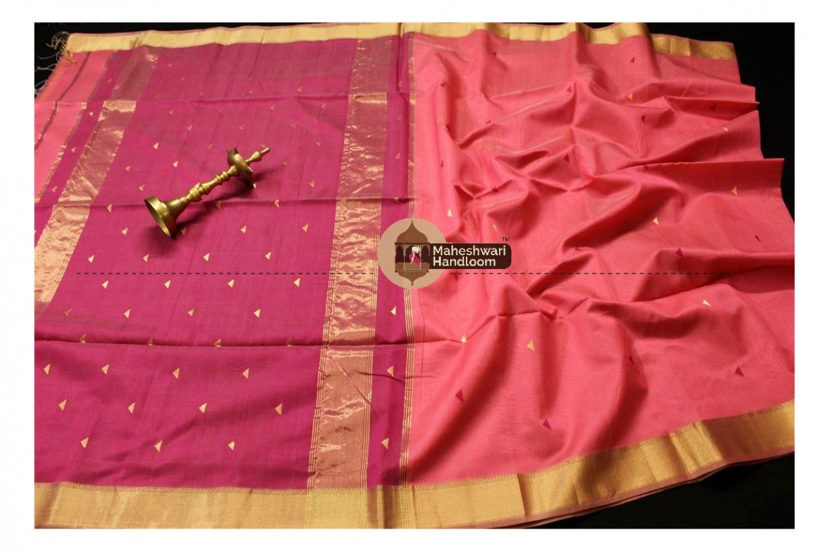 Maheshwari Coral Peach  Tringle Buti Weaving saree