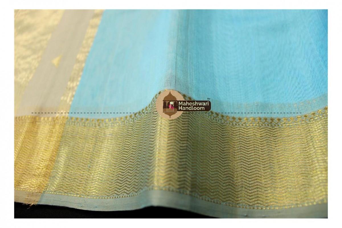 Maheshwari Sea Blue Tringle Buti Weaving saree