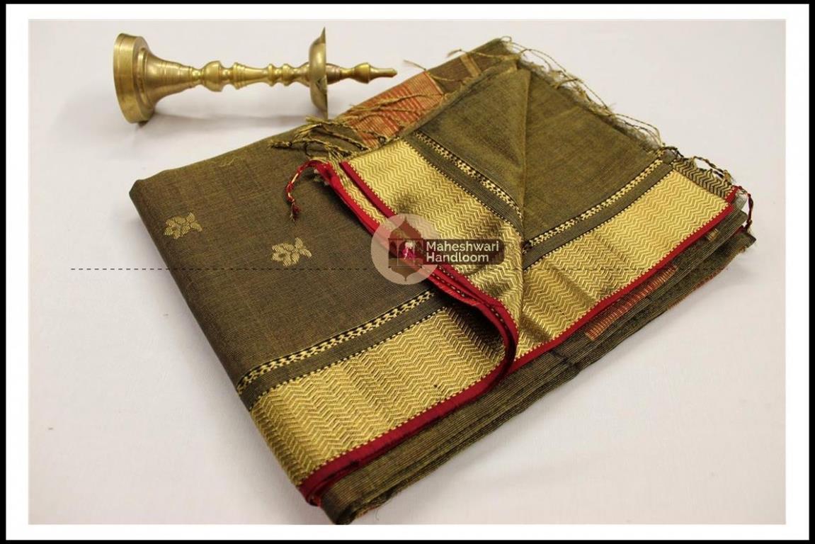 Maheshwari Mehandi Green Tissue Buti Pallu Weaving Saree