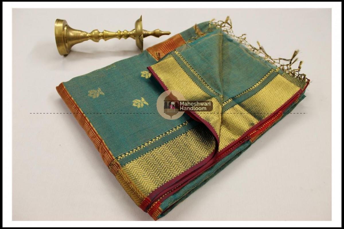 Maheshwari Firozi Tissue Buti Pallu Weaving Saree