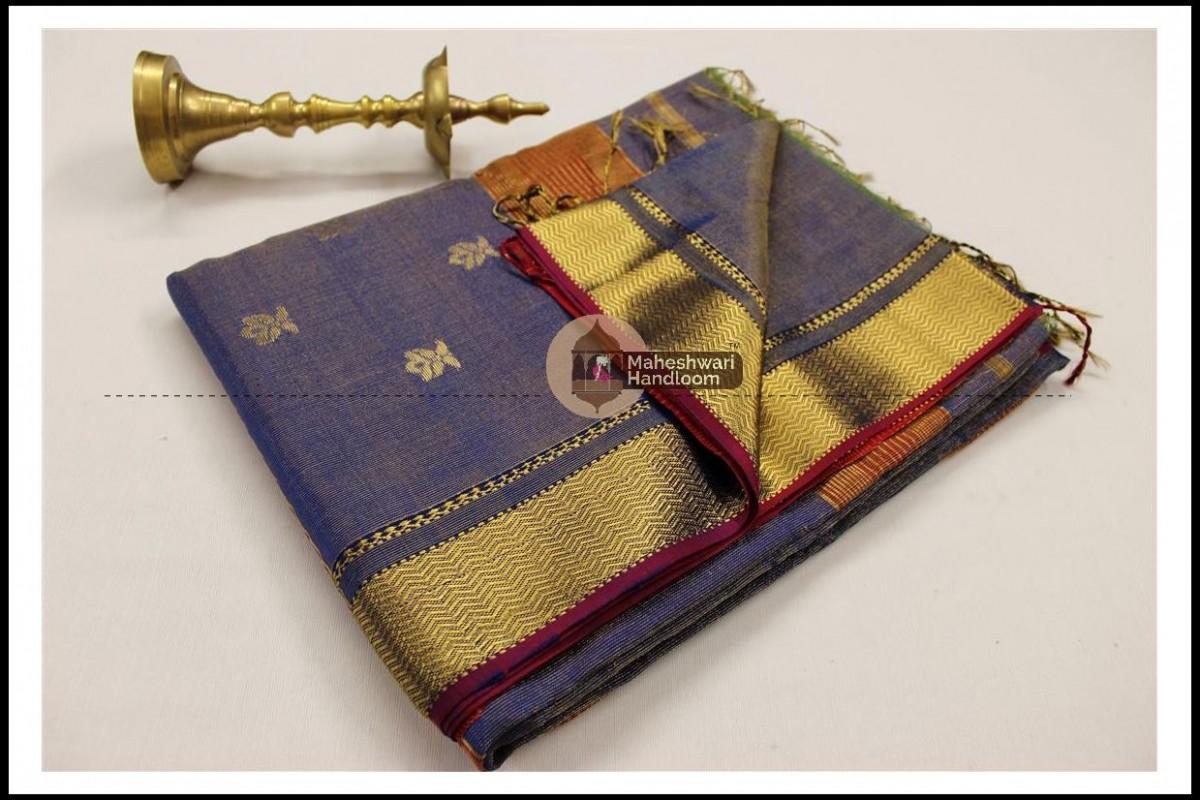 Maheshwari Blue Tissue Buti Pallu Weaving Saree