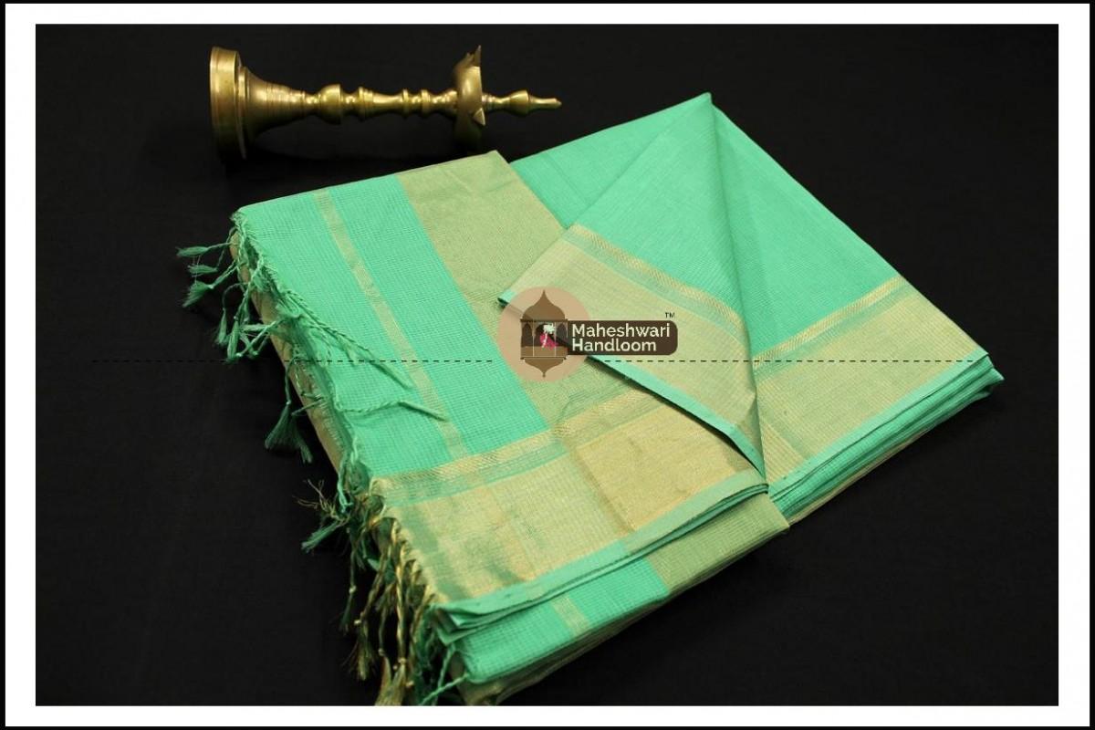 Maheshwari Sea Green Checks Fabric Saree