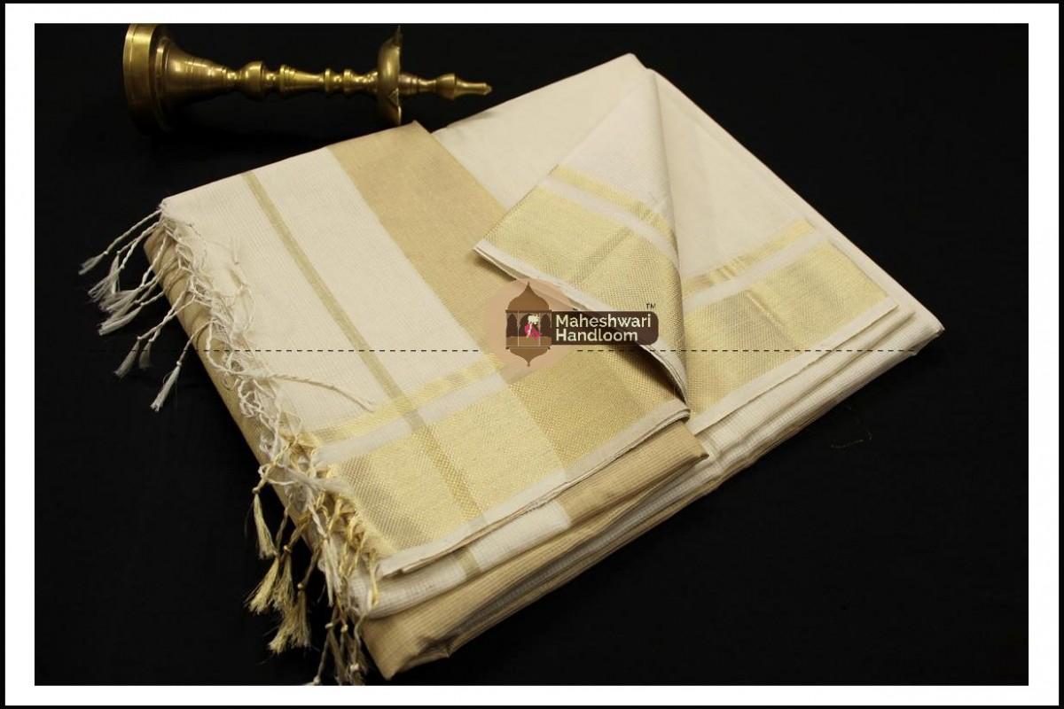 Maheshwari Grey Checks Fabric Saree