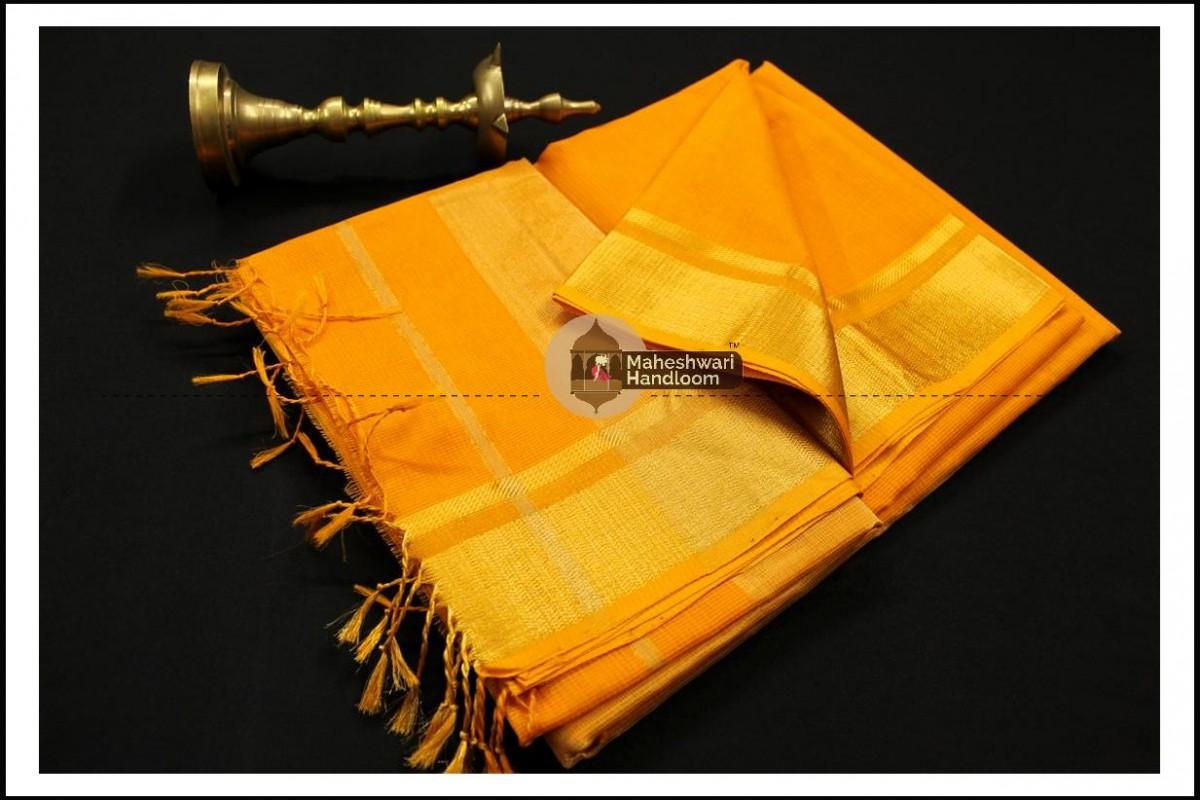 Maheshwari Golden Yellow Checks Fabric Saree