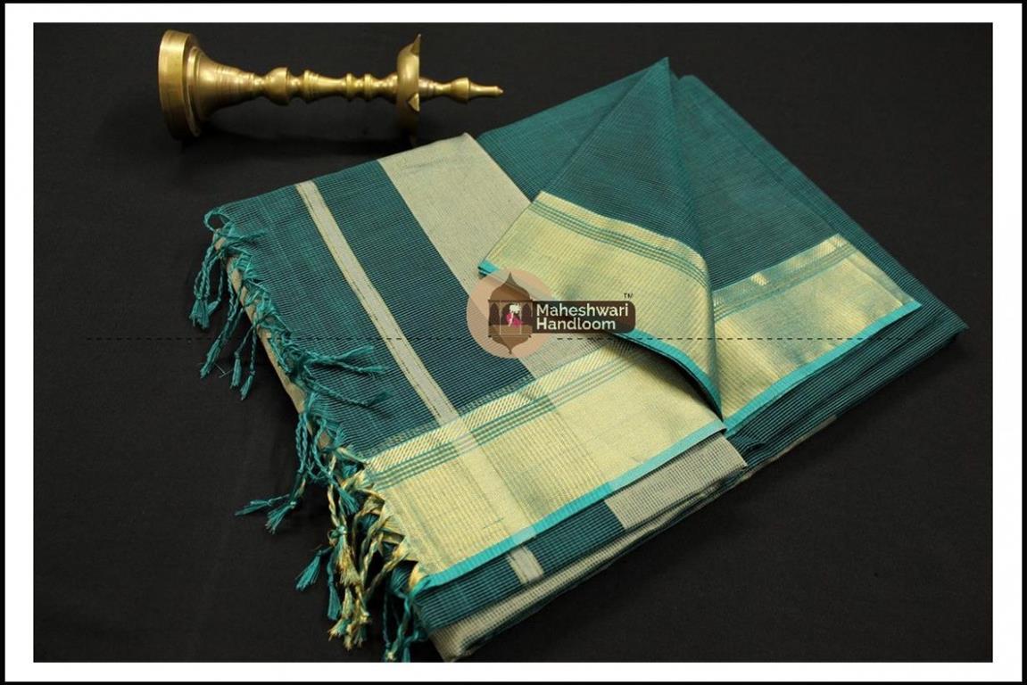 Maheshwari Light Rama Green Checks Fabric Saree