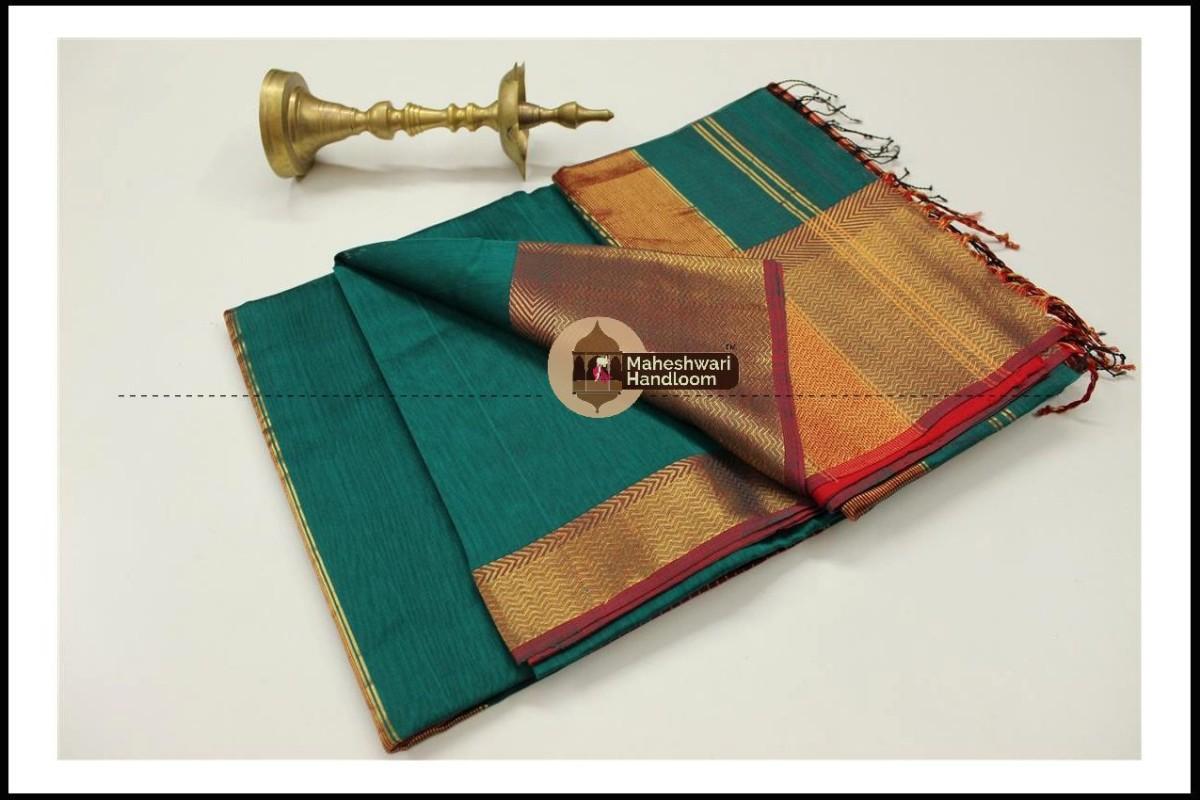 Maheshwari Rama Green Jari Skirt Border saree