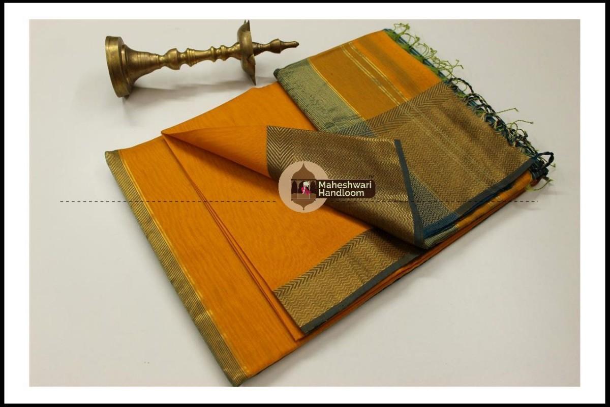 Maheshwari Golden Yellow Jari Skirt Border Saree