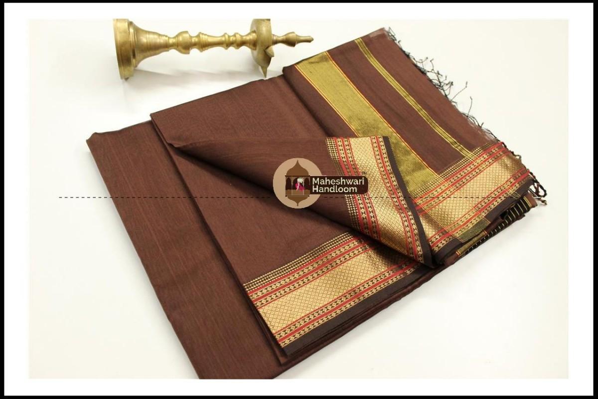 Maheshwari Chocolate Brown  Jari Hansa Border Saree