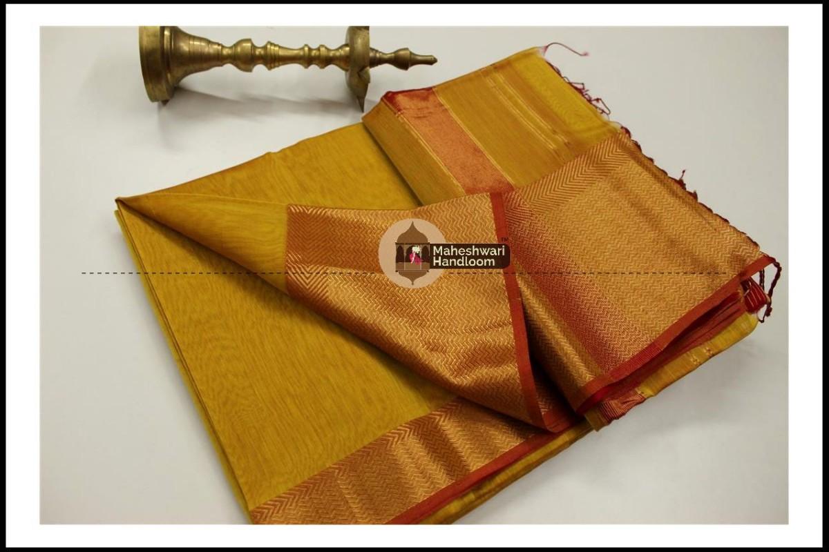 Maheshwari Mustard Yellow Jari Skirt Border Saree