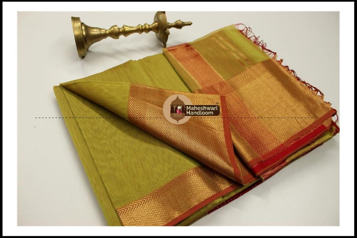 Maheshwari Mehandi Green Jari skirt Border saree