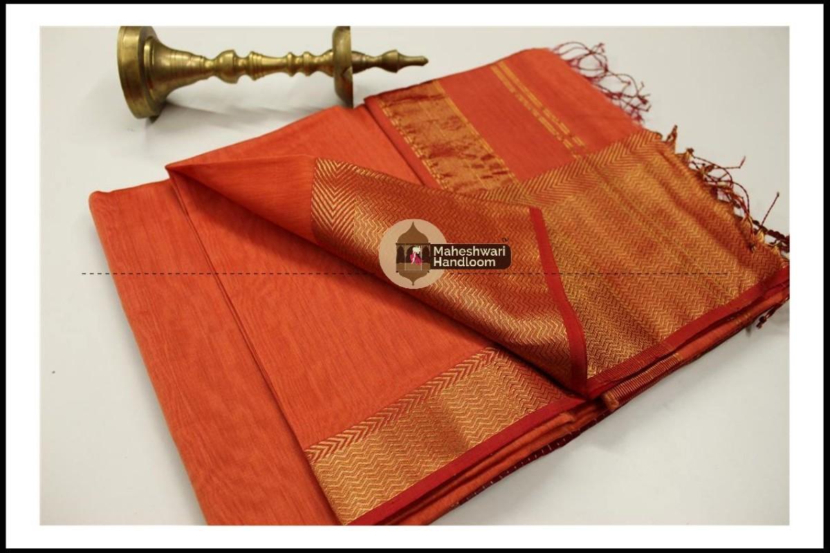Maheshwari Orange Jari skirt Border saree