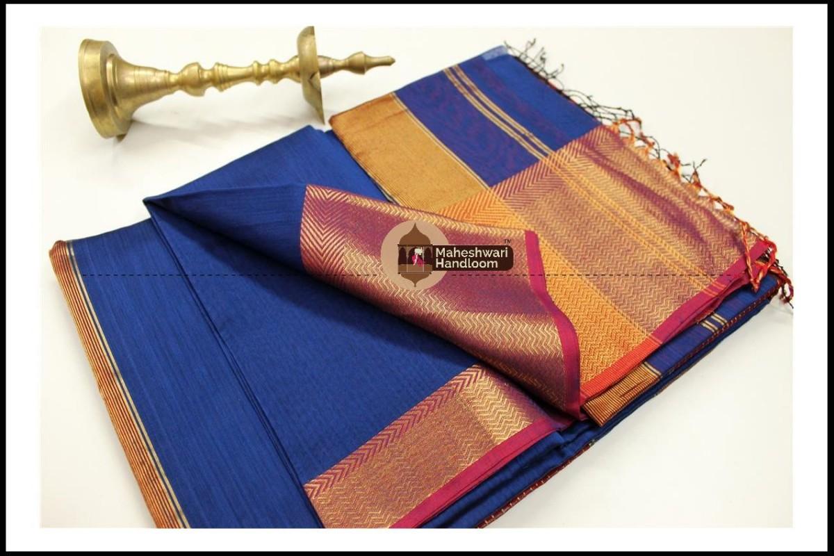 Maheshwari Blue Jari skirt Border saree