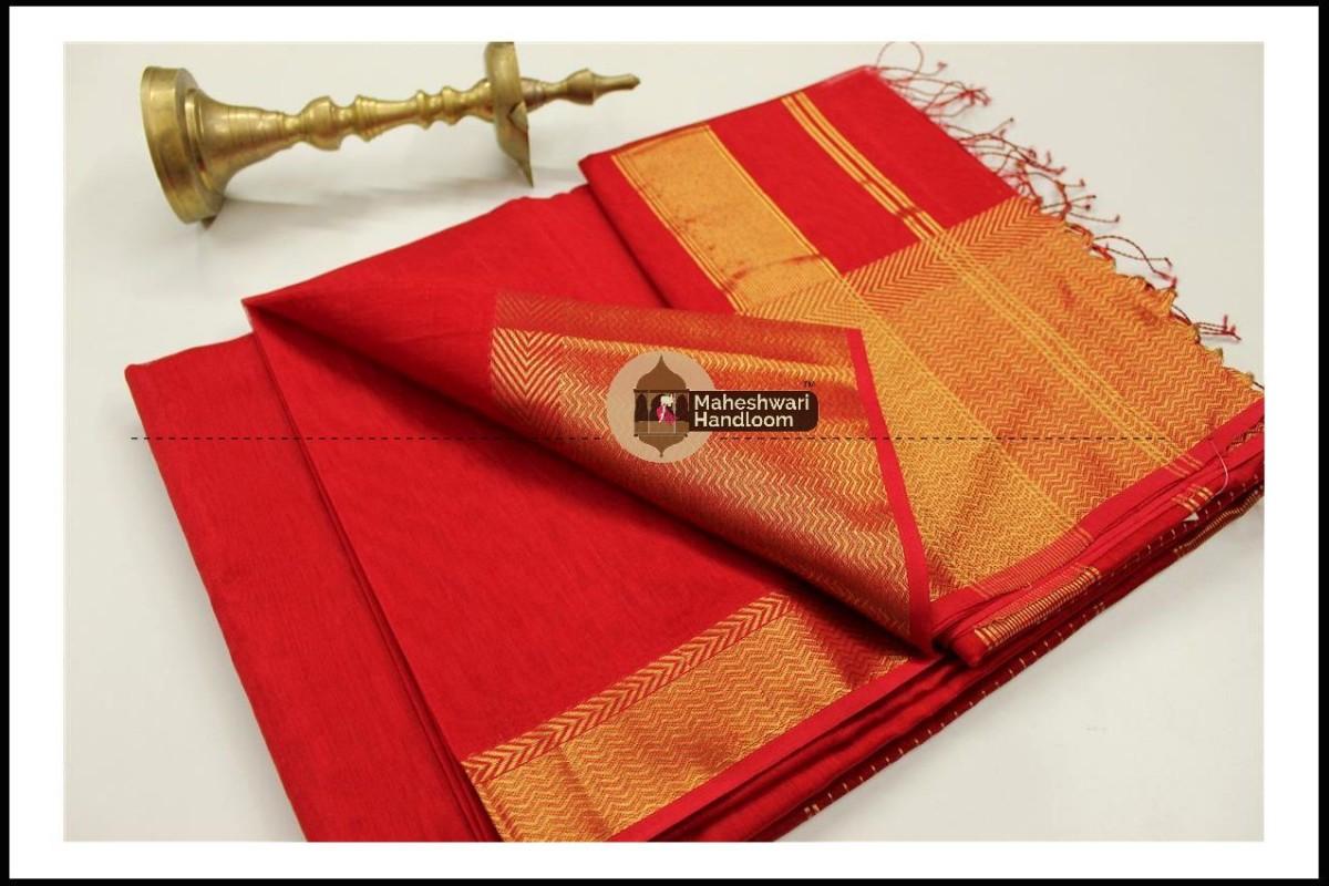 Maheshwari Red Jari skirt Border saree