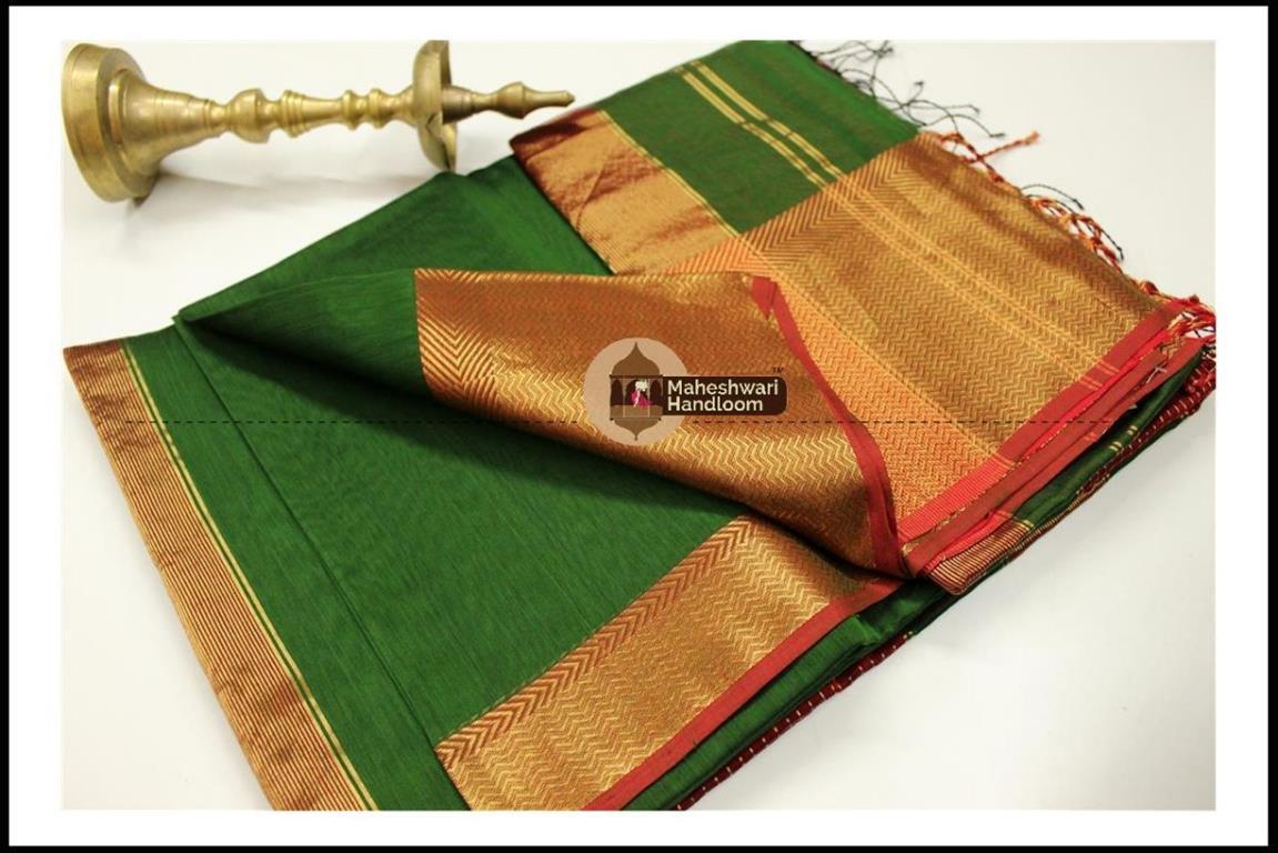 Maheshwari Chutney Green Jari skirt Border saree