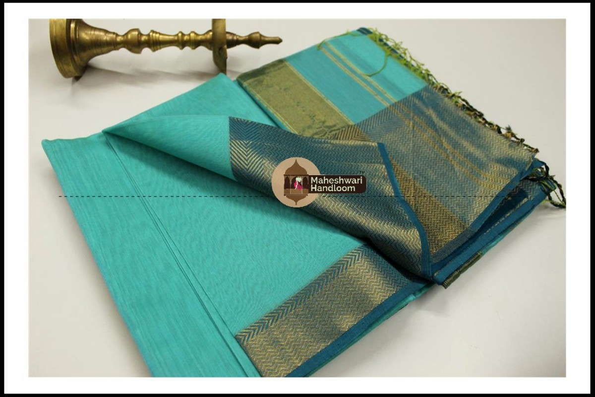 Maheshwari Sea Green Jari skirt Border saree